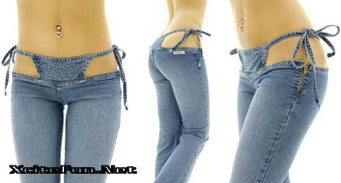 Sannas Brazil Fashion Bring Ultra Low Cut Blue Bikini Jeans