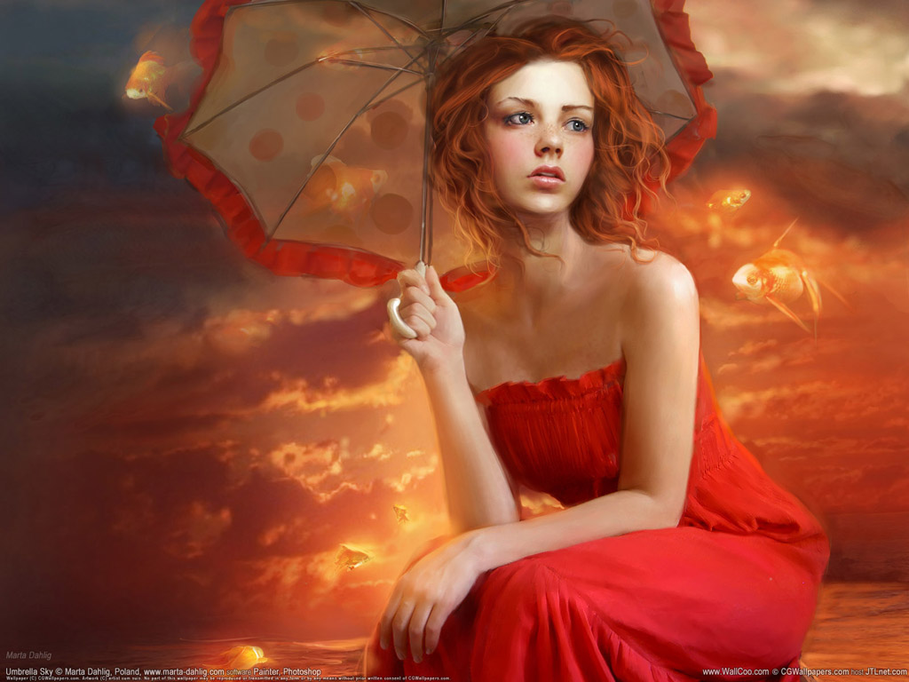 Unbrella Sky Some Others Cg Art Girl Wallpapers Global Celebrities