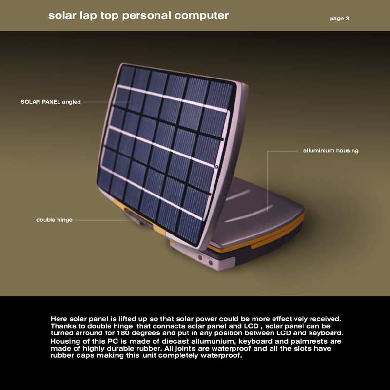only via a solar cell panel the solar powered laptop uses photovoltaic ...