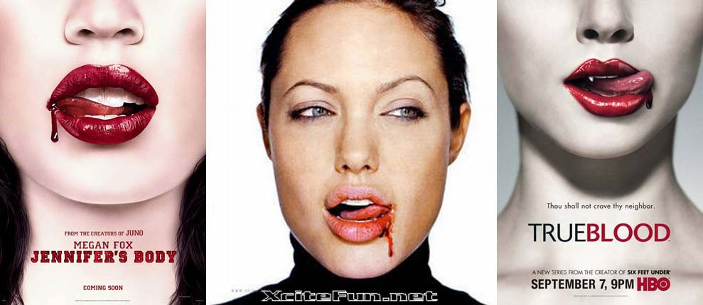 The Bloody Lips Series: Those hot lips belong to Megan Fox, Angelina Jolie.