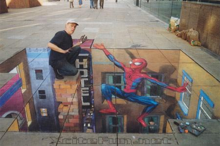 Street Art 3D Chalk Drawings On Flat Pavement  Incredible
