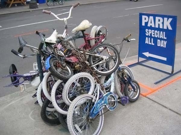 Strange Bicycle parking