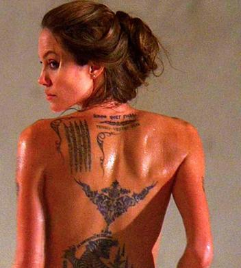 Angelina Jolie recently voted most sexy woman has plenty of tattoos and is
