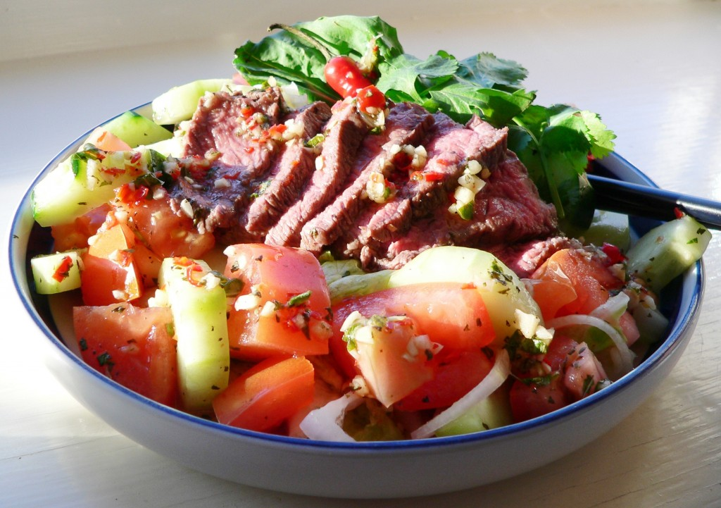 "Grilled Thai beef salad ""larb"". This is spicy and fresh; and perfec..."
