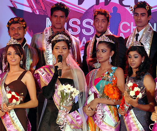 Miss Chennai Beauty Contest in ChennaiExclusive. Winners strike a pose