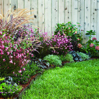 3 plans for colorful easy care spring borders for Easy care landscape design