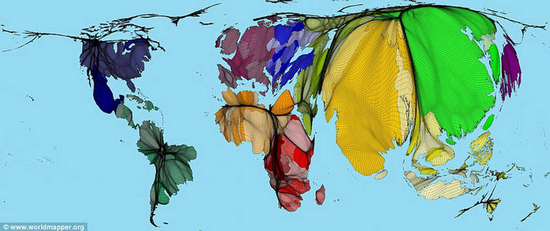 Population Map Remap The World New Projection XciteFunnet - Us map size based on population