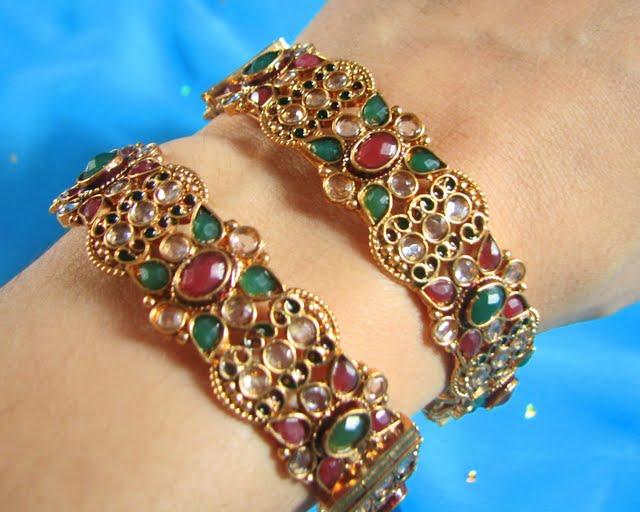 119967xcitefun gold bangels - Kundan beaded bangles