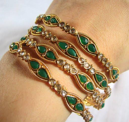119970xcitefun gold bangels 4 - Kundan beaded bangles