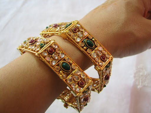 119972xcitefun gold bangels 2 - Kundan beaded bangles