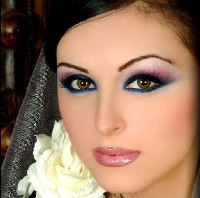 woman with blue and pink eyeshadow