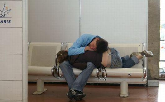 HOW PEOPLE SLEEP AT AIRPORT