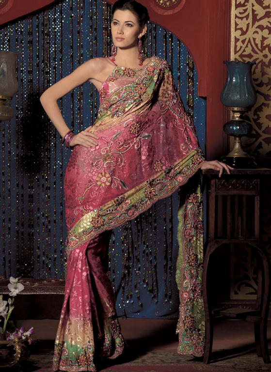 Chiffon Saree with Heavy Zari Work  Party Wear