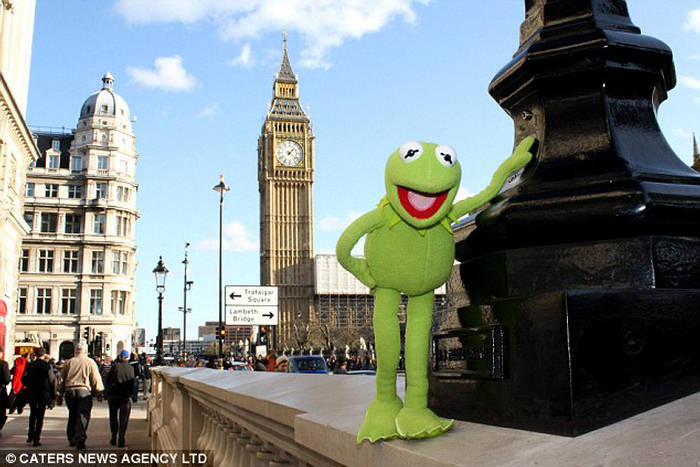 kermit frog. Kermit Frog Traveling The