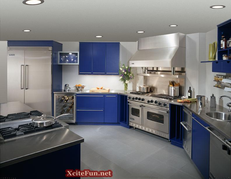 How To Decorate Your Kitchen Beauteous With Blue and Silver Kitchen Image