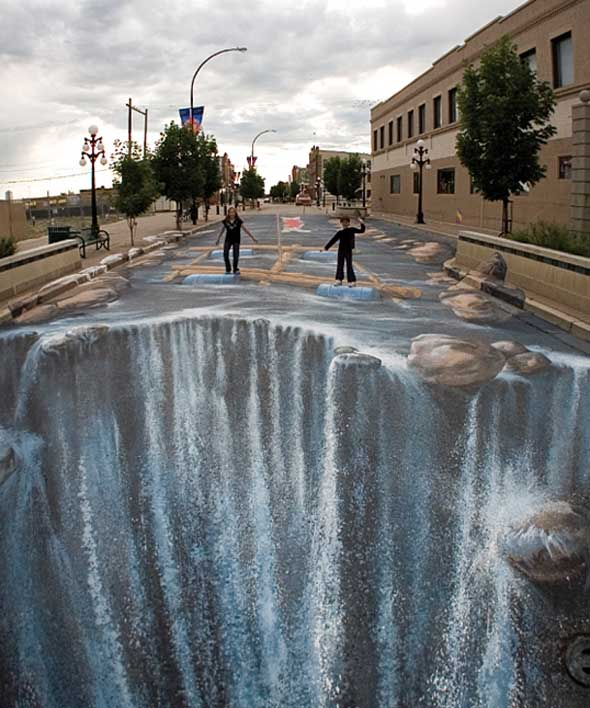 Pavement Waterfall Optical Illusion