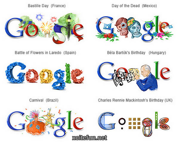 Google logos in different countries