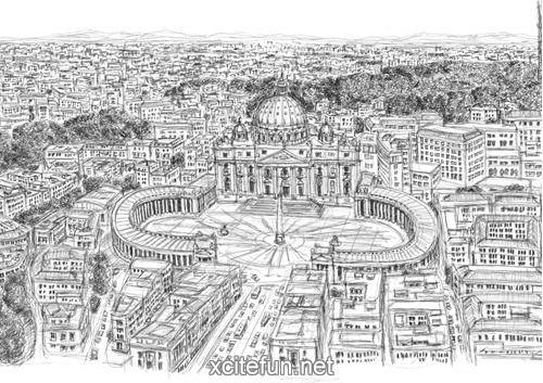 Cityscapes Art Drawing Cityscapes Drawing by The