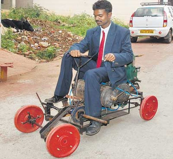 Air Powered Car Built By A Indian From Scrap Material