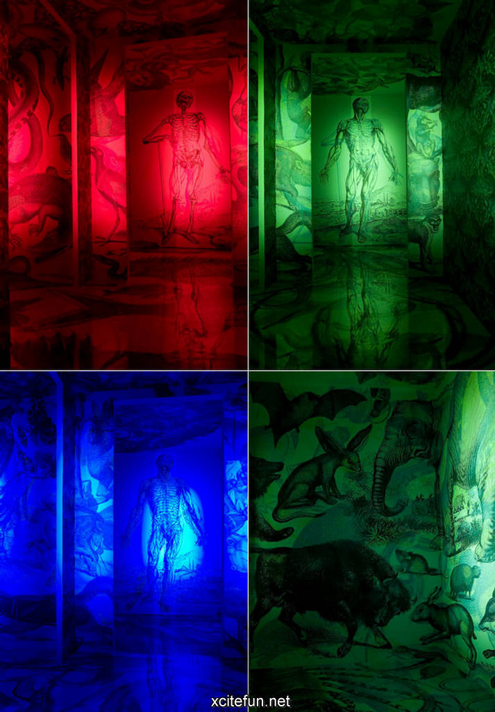 different color lights rgb on art painting
