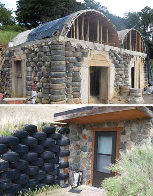 House build with tires for Reclaimed house materials