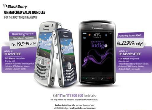 BlackBerry Pakistan Price Package  Mobilink Indigo