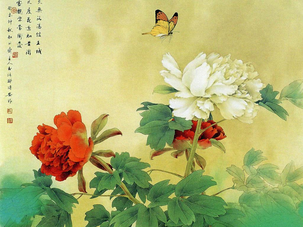 chinese art covering flowers and nature