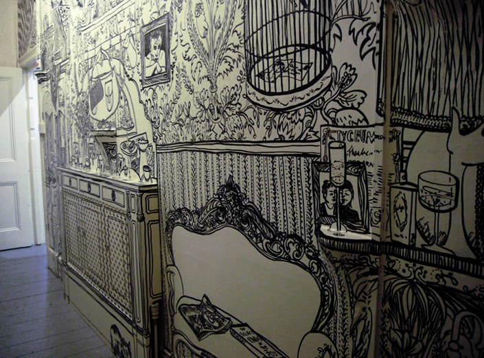 awesome drawing on wall