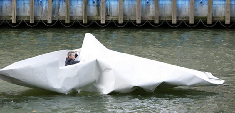 Artist Sails Made a Giant Boat With Paper