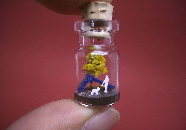 Artistic World In Bottle  Art in Glass
