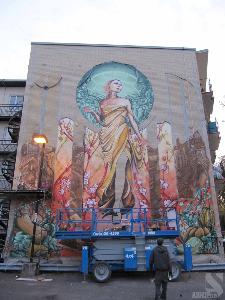 Massive art nouveau inspired mural in montreal for Art nouveau mural