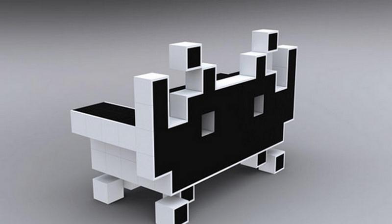 retro space invader alien couch. Black Bedroom Furniture Sets. Home Design Ideas