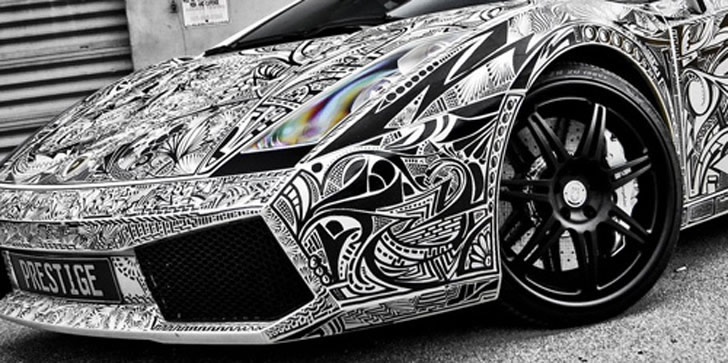 Lamborghini Gallardo Car With Sharpie Sketch Vinyl