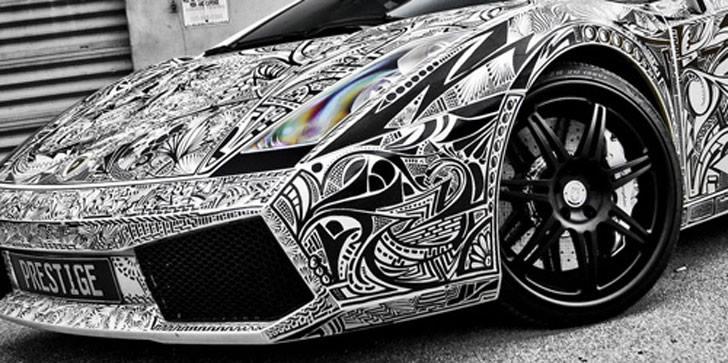 Lamborghini Gallardo Car With Sharpie Sketch Vinyl