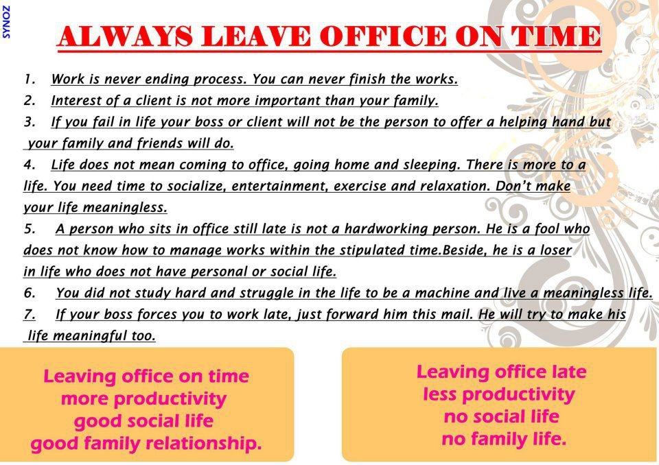 always leave office on time xcitefun net
