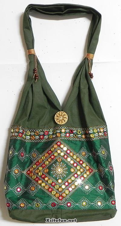 Embroidery mirror work kashmiri shoulder bags xcitefun