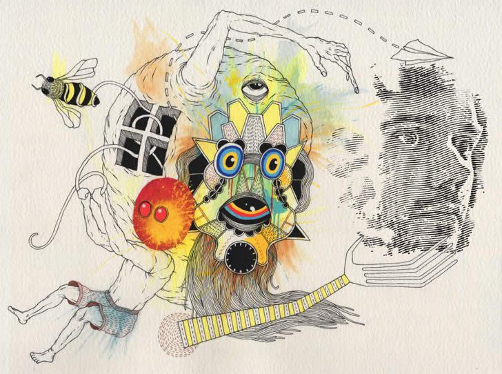 trippy brain spill paint art xcitefunnet