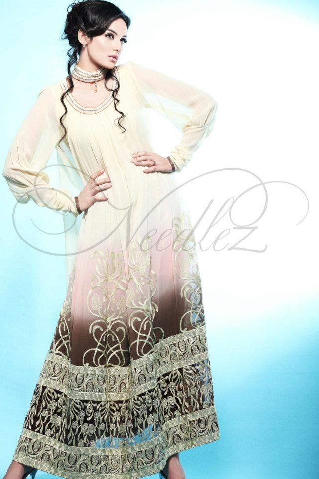 Needlez Embroidered amp Shaded Long Shirt Formal Collectio
