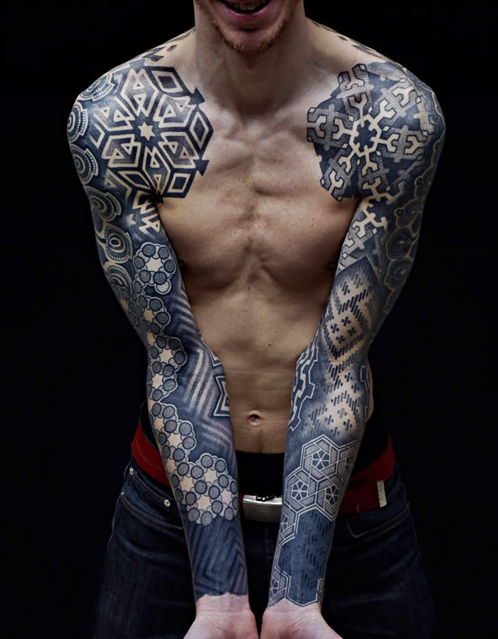 Blue Geometric Tattoos
