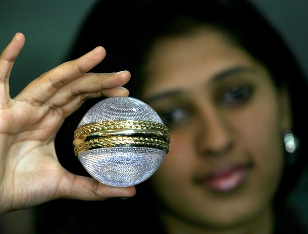 Worlds First Diamond Studded Cricket Ball