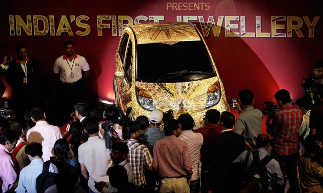 Worlds First Gold Jewelry Car  Tata Nano GoldPlus