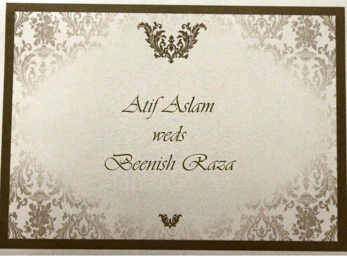 Atif Aslam Wedding Card