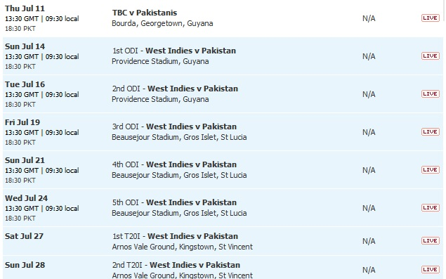 Pakistan Tour Of West Indies 2013  Complete Fixtures