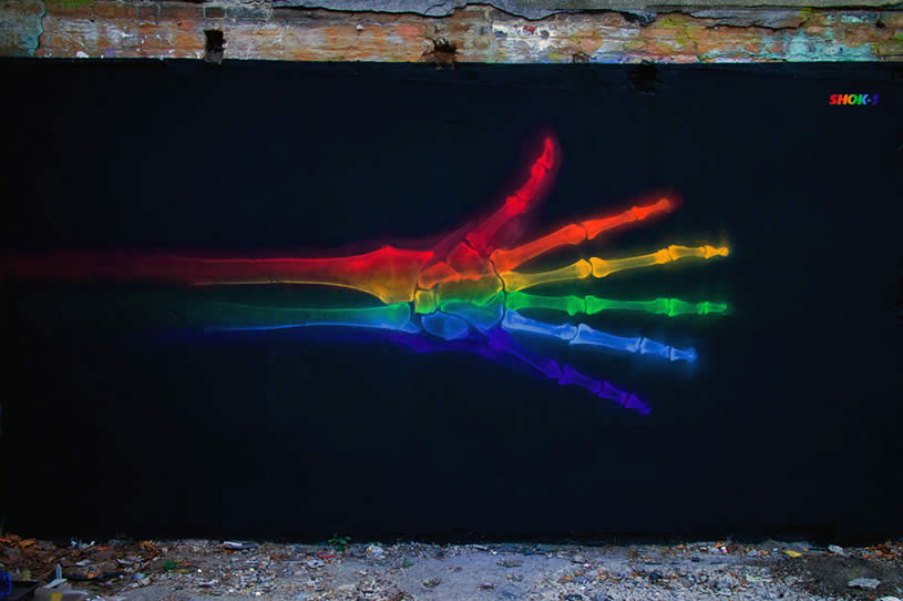 Beautiful colorful x ray street art for X ray painting