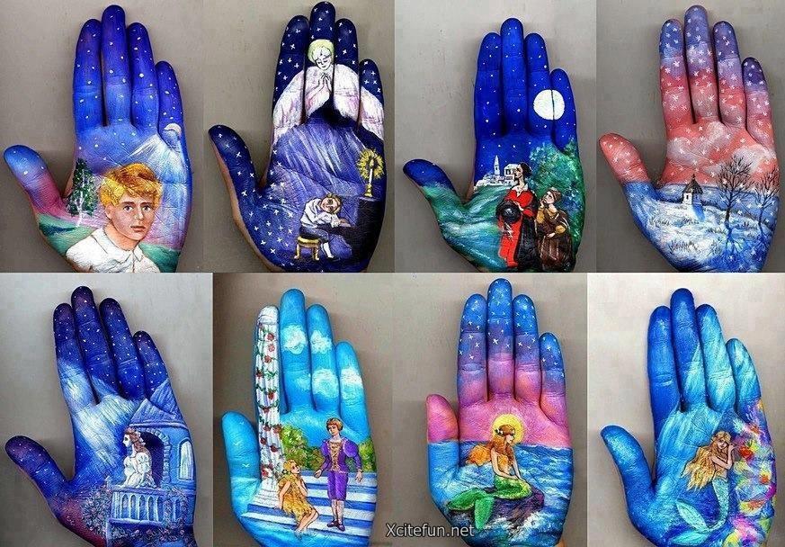 Paint creative art on palm art design