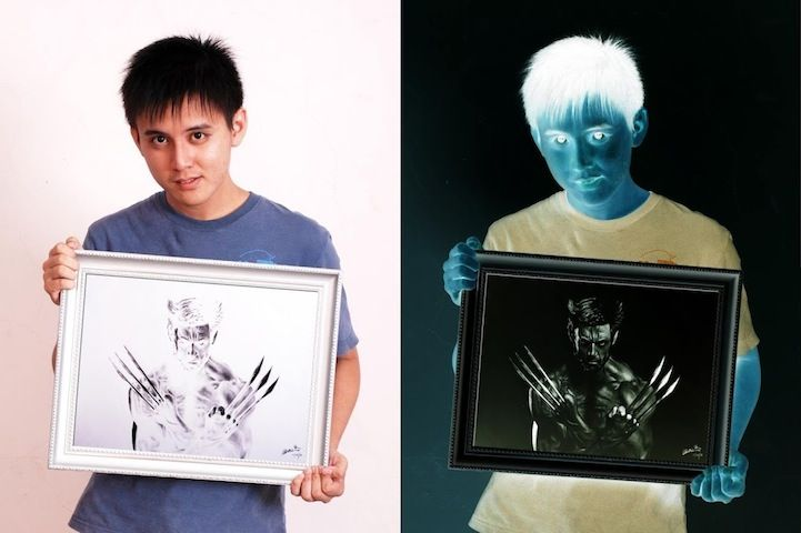 color inverted drawings by brian lai