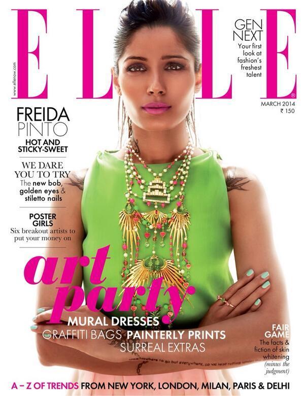 Freida pinto elle magazine cover for Elle magazine this month
