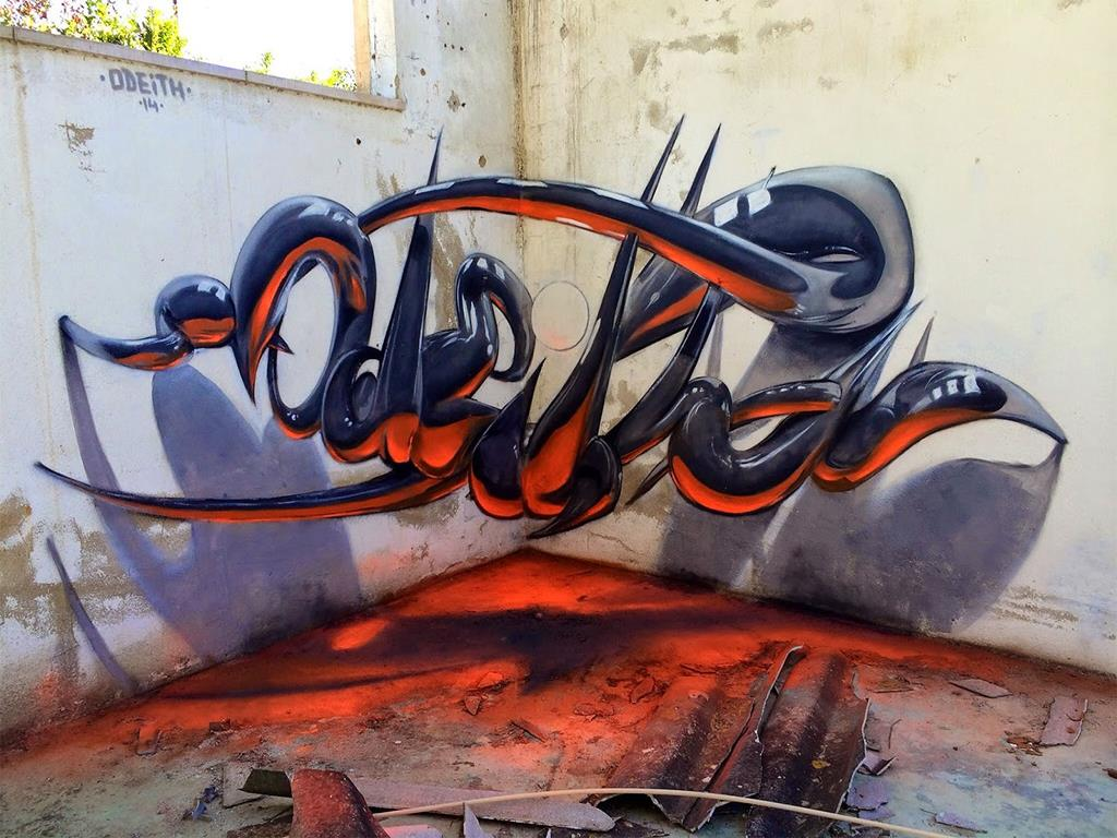 Beautiful 3d graffiti art for Escultura mural