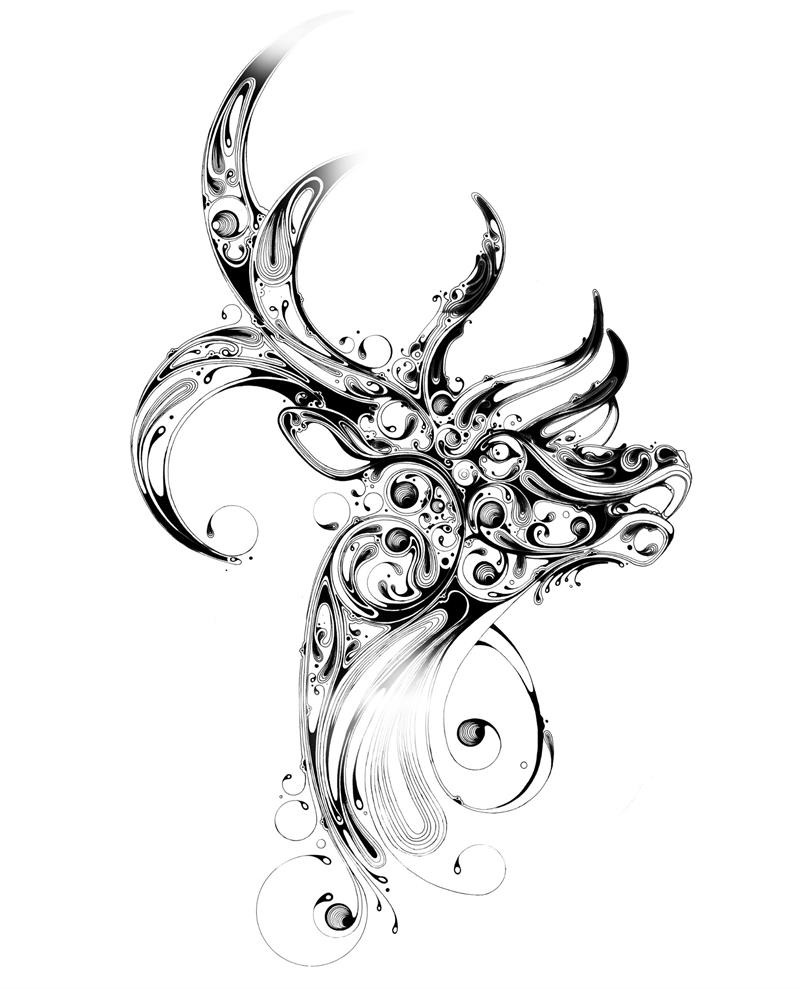 Line Art Design Studio : Beautiful animal art with black ink xcitefun