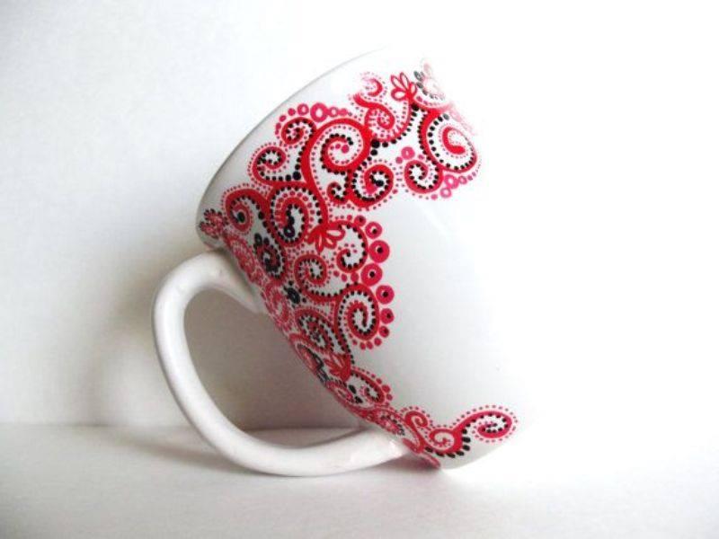 Creative hand painted coffee mug designs for Coffee painting designs